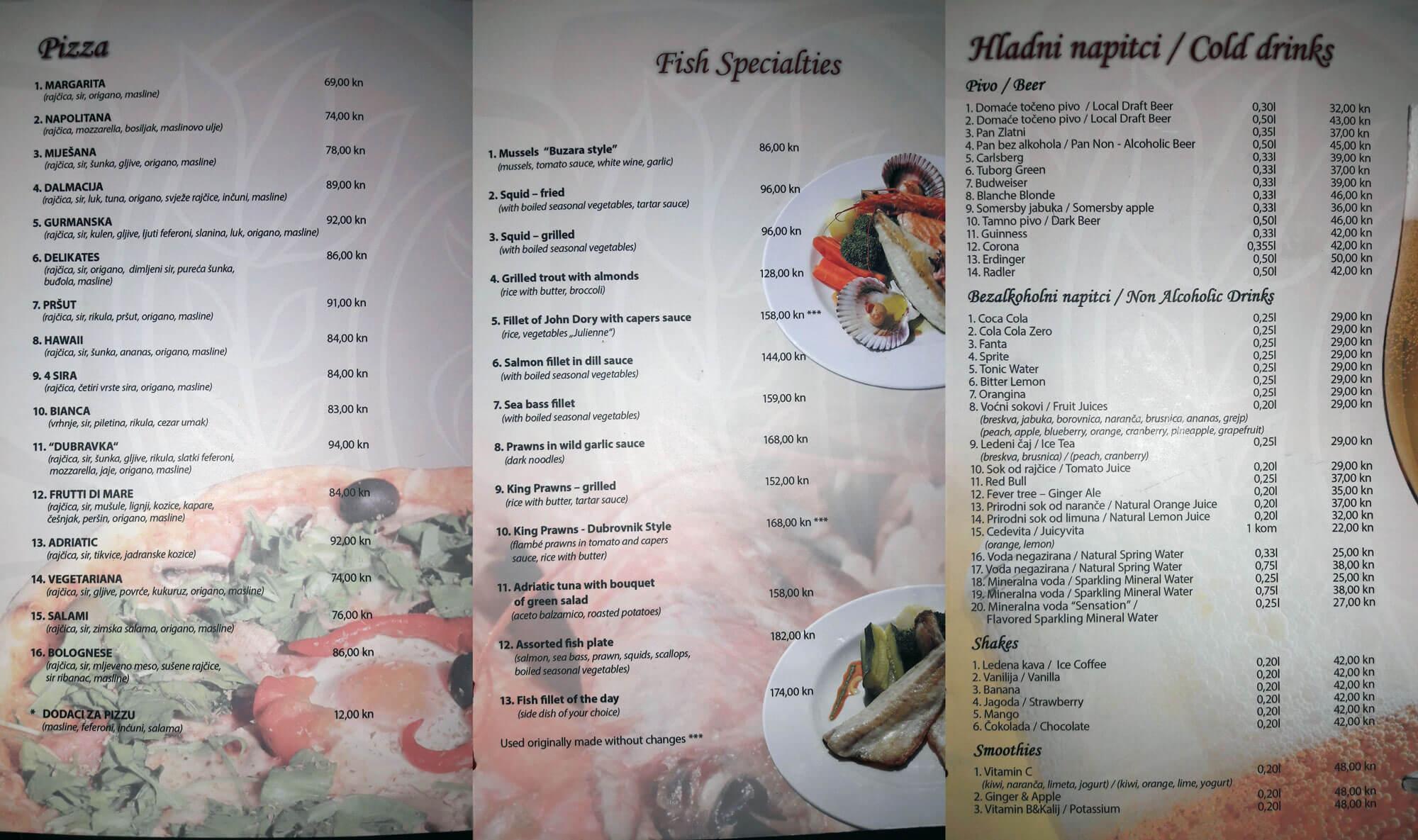 Chorvatsko - ceny v restauracích - jídelní lístek