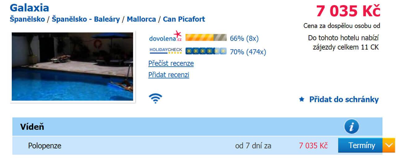 Mallorca dovolená levně