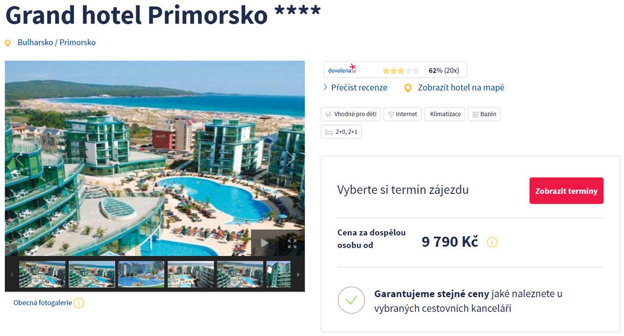 Bulharsko Primorsko - All Inclusive dovolená v Grand Hotelu