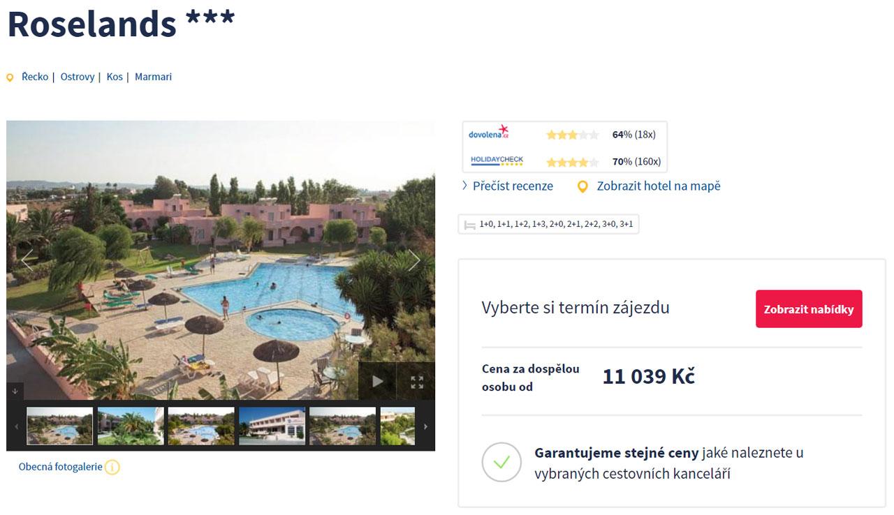 Řecko Kos - Dovolená v hotelu Roselands